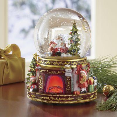 Musical Santa Fireplace Globe