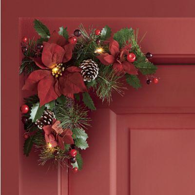 Set of 2 Lighted Poinsettia Door Corners