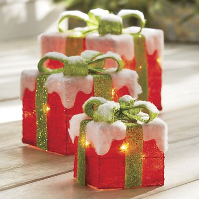 Set of 3 Lit Gift Boxes