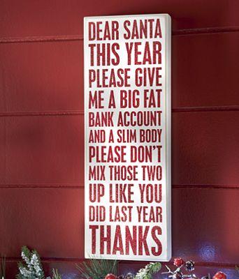 """""""Dear Santa"""" Sign"""