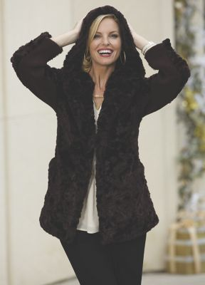 Crushed Faux Fur Jacket