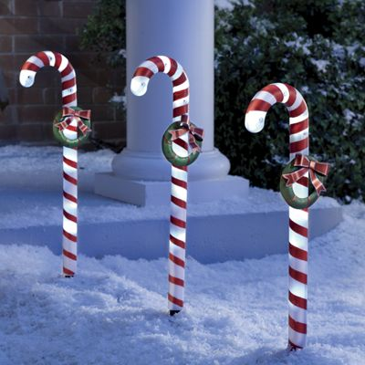 3-Piece Candy Cane Solar Stake Light Set