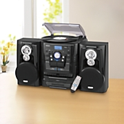 Music System with 3-Speed Turntable, Bluetooth, CD and Cassette by Jensen