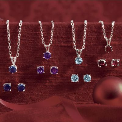 Silvertone Gemstone Pendant and Post Earring Set