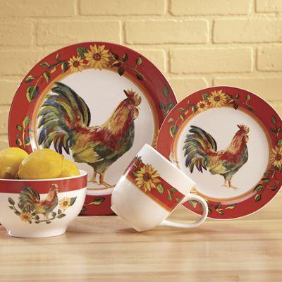 16-Piece Sunrise Sunflower Dinnerware Set & 16-Piece Sunrise Sunflower Dinnerware Set from Country Door | 716460