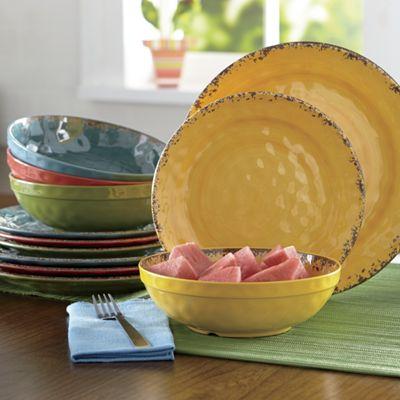 12-Piece Melamine Crackle Swirl Dinnerware Set & 12-Piece Melamine Crackle Swirl Dinnerware Set from Ginnyu0027s | JI717839
