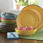 12-Piece Melamine Crackle Swirl Dinnerware Set
