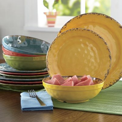 12-Piece Melamine Crackle Swirl Dinnerware Set