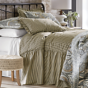 Ticking Stripe Ruffled Bedspread