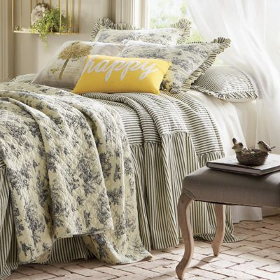 Ticking Stripe Ruffled Bedspread and Shams