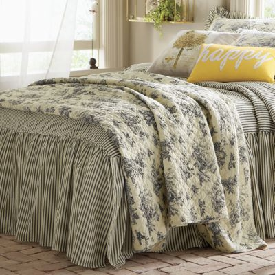 toile quilt window treatments and shams