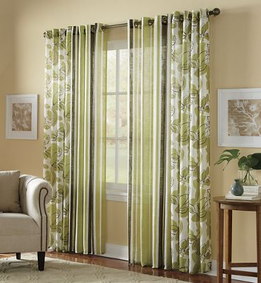 Stripe or Botanical Natural Weave Grommet Panel