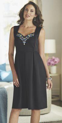 Lotte Jeweled Neckline Dress