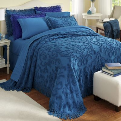 Damask Chenille Bedspread and Sham