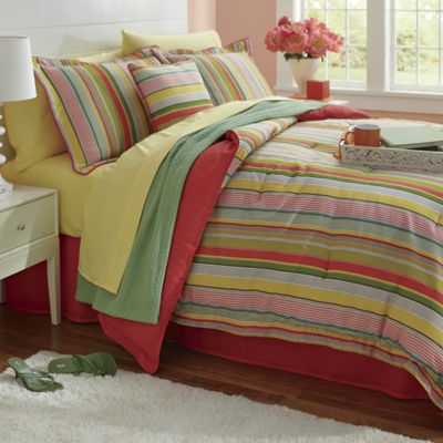 Bright Stripe Comforter Set, Decorative Pillow and Window Treatments