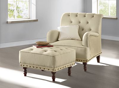 Tufted Accent Chair and Nailhead Ottoman