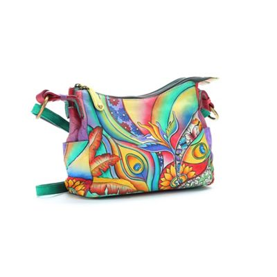 Flower Power Hand-Painted Leather Bag