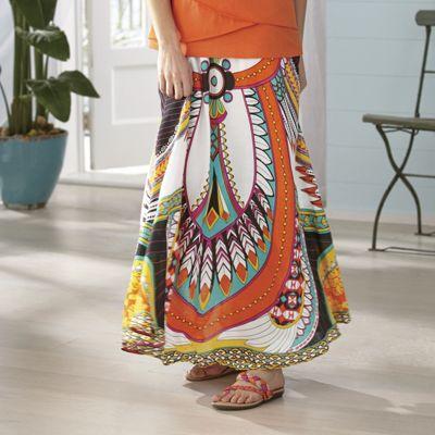 Feather Print Skirt