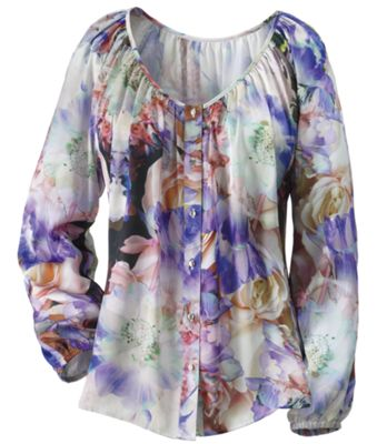 Floral Watercolor Button Front Blouse