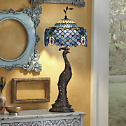 stained glass peacock lamp 175