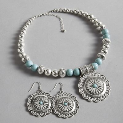 Southwest Bead Necklace and Earrings
