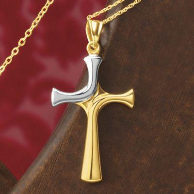 Gold Two-Tone Cross Pendant