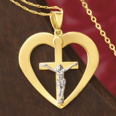 Gold Two-Tone Crucifix/Heart Pendant