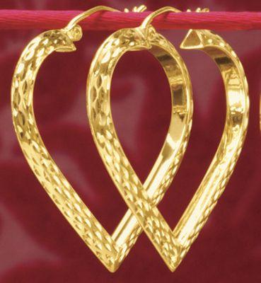 Gold Diamond-Cut Heart Hoops