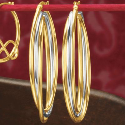 Gold Two-Tone 3-Row Oval Hoops