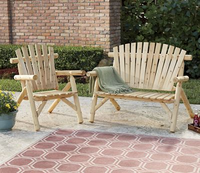 Log Chair and Bench