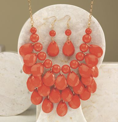Faceted Pear Necklace/Earring Set