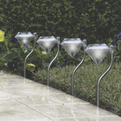 4-Piece Solar Diamond Pathway Lights