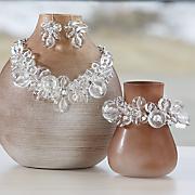 Clear Acrylic Ball Necklace/Stretch Bracelet & Earring Set