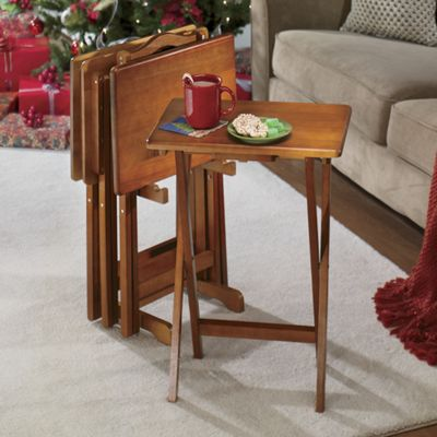 5 Piece Solid Wood Tray Table Set