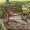 Wagon Wheel Mini Bench