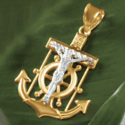 10k gold two tone crucifix anchor pendant