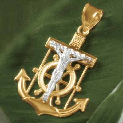 10K Gold Two-Tone Crucifix/Anchor Pendant