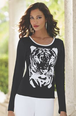 Tiger Face Mesh Top