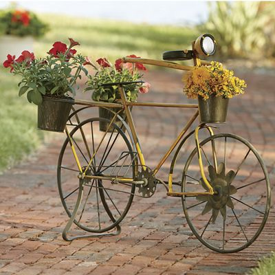 Vintage Bicycle Planter With Solar Light