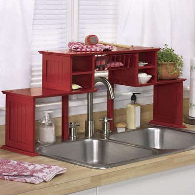 Red Over The Kitchen Sink Shelf
