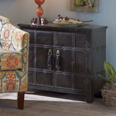 High Quality Continental 2 Door Faux Leather Cabinet