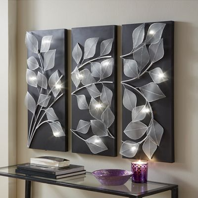 3-Piece Lit Leaves Wall Art