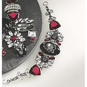 red  black and clear crystal bracelet