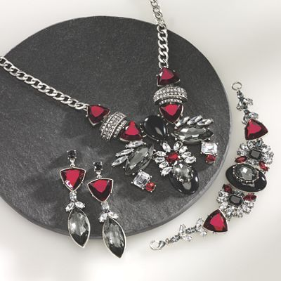 Red, Black and Clear Crystal Jewelry