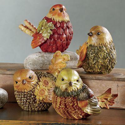 Set of 4 Little Autumn Birds