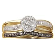 round cluster black diamond bridal set