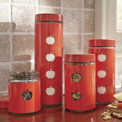 Set of 4 Apple Window Canisters