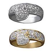 diamond heart charm ring