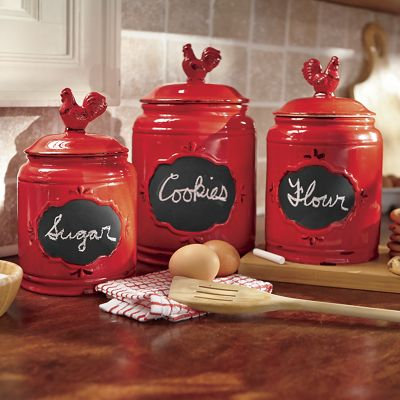 Set of 3 Hand-Painted Rooster Chalkboard Canisters