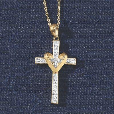 Diamond Heart/Cross Pendant